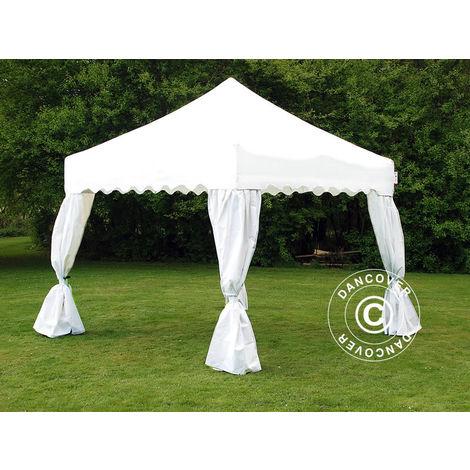 """Pop up gazebo FleXtents Pop up canopy Folding tent Xtreme 50 """"Wave"""" 3x3 m White, incl. 4 decorative curtains"""