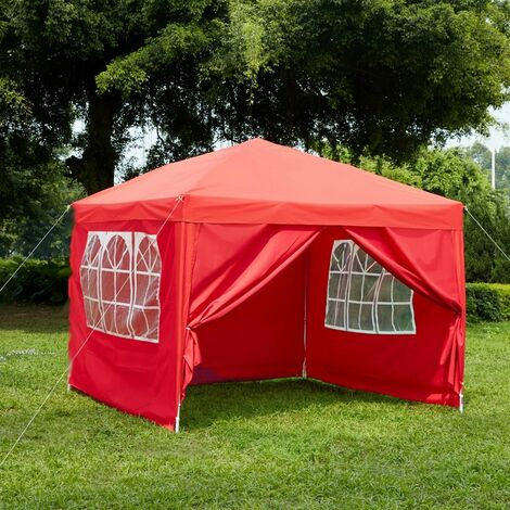 Pop Up Gazebo With Sides 2.5x2.5m, Red