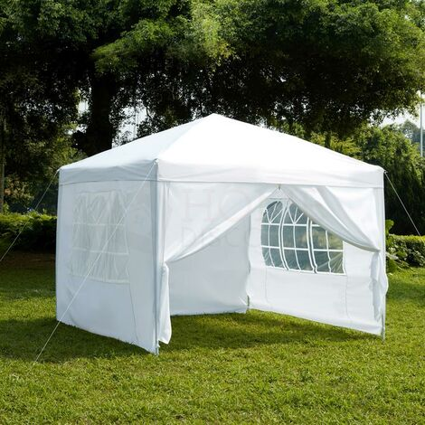 Pop Up Gazebo With Sides 3x3m, White