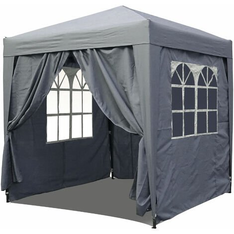 Pop-Up-Pavillon 2 x 2 m Smoky Grau mit 4 Easy-Klett Seitenwänden 2 mit Reißverschlüssen