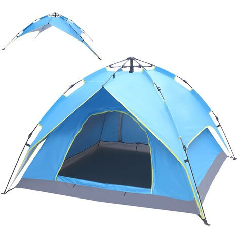 Pop Up Tent for 3-4 Persons, Waterproof Ventilated Dome Tent with Removable Rainfly Storage Bag Family Tent for Camping Fishing Hiking (Blue)