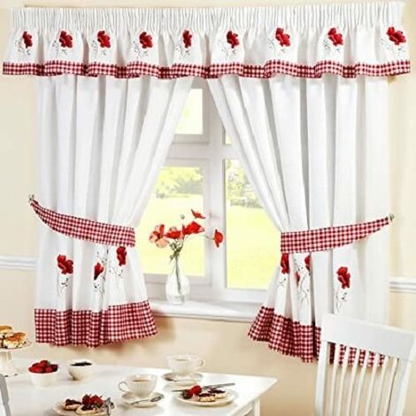 """Poppies Kitchen Curtains 46 x 54"""" Pair Ready Made"""