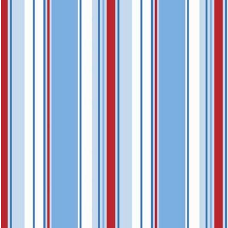 Poppins Stripe Wallpaper Striped Stripey Kids Bedroom Blue White Red Holden