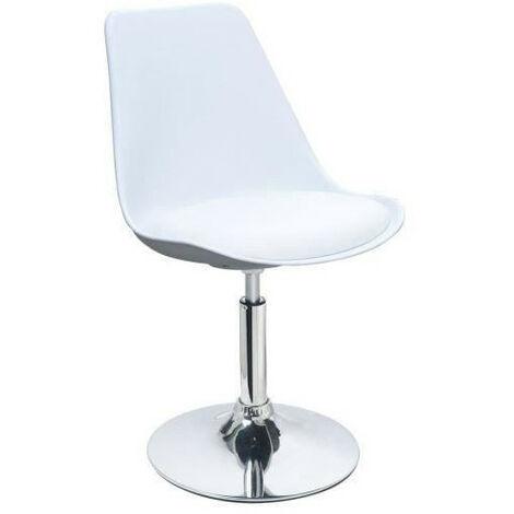 POPPY Chaise de salle a manger pivotante - Simili blanc - Contemporain - L 48,5 x P 53 cm