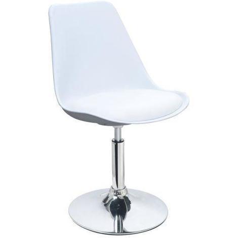 POPPY Chaise de salle a manger pivotante - Simili blanc - Contemporain - L 48.5 x P 53 cm Generique