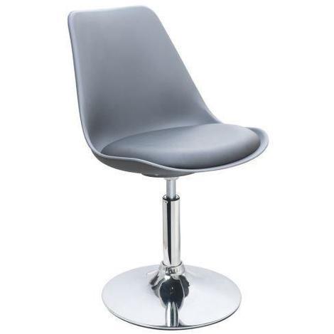 POPPY Chaise de salle a manger pivotante - Simili gris - Contemporain - L 48.5 x P 53 cm Generique