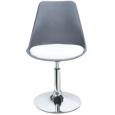 POPPY Chaise de salle a manger pivotante - Simili gris et blanc - Contemporain - L 48.5 x P 53 cm Generique