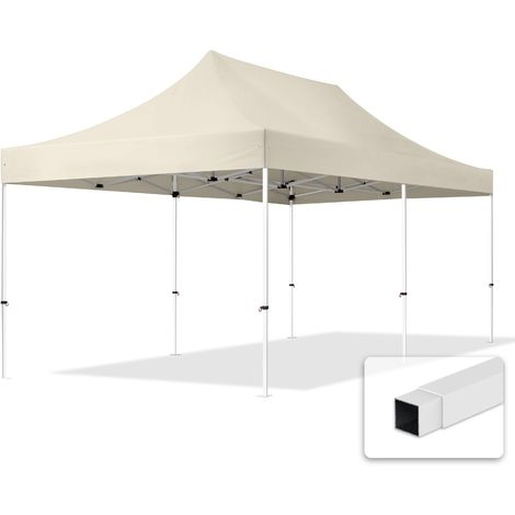 Popup Garden Gezebo 3 x 6 m - without Sidewalls in folding Canopy high performance polyester ECONOMY in creme