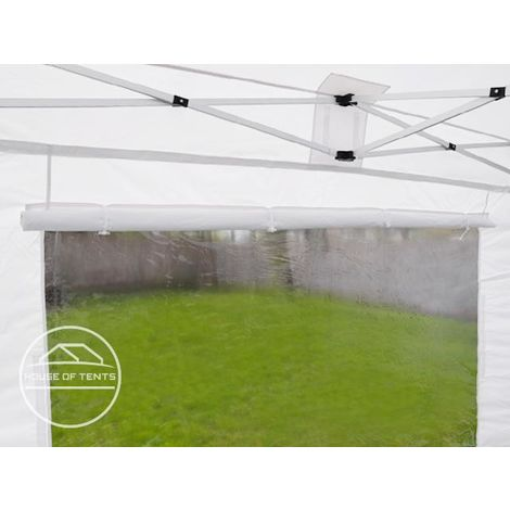 PopUp PREMIUM Gazebo 3x3 m with panorama windows classy polyester waterproof HOUSEOFTENTS marquee party tent beige