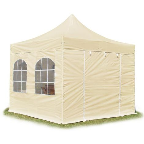 PopUp PREMIUM Gazebo 3x3 m with windows classy polyester waterproof HOUSEOFTENTS marquee party tent beige