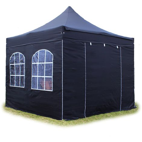 PopUp PREMIUM Gazebo 3x3 m with windows classy polyester waterproof HOUSEOFTENTS marquee party tent black