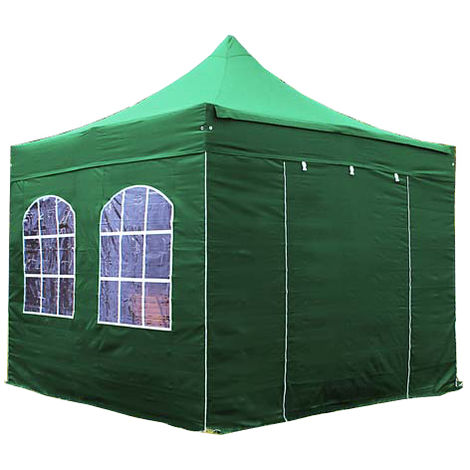 PopUp PREMIUM Gazebo 3x3 m with windows classy polyester waterproof HOUSEOFTENTS marquee party tent darkgreen