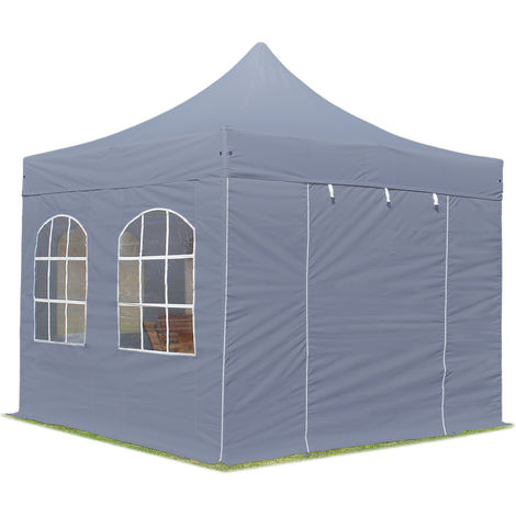PopUp PREMIUM Gazebo 3x3 m with windows classy polyester waterproof HOUSEOFTENTS marquee party tent darkgrey