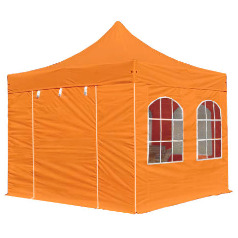 PopUp PREMIUM Gazebo 3x3 m with windows classy polyester waterproof HOUSEOFTENTS marquee party tent orange