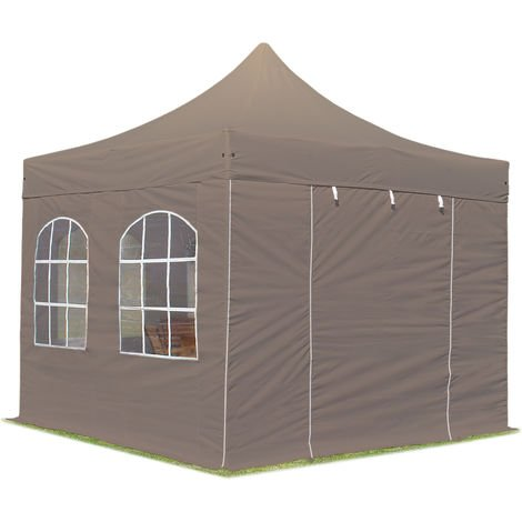 PopUp PREMIUM Gazebo 3x3 m with windows classy polyester waterproof HOUSEOFTENTS marquee party tent taupe