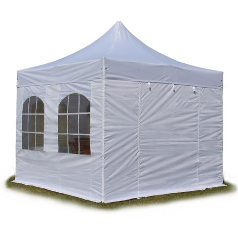 PopUp PREMIUM Gazebo 3x3 m with windows classy polyester waterproof HOUSEOFTENTS marquee party tent white