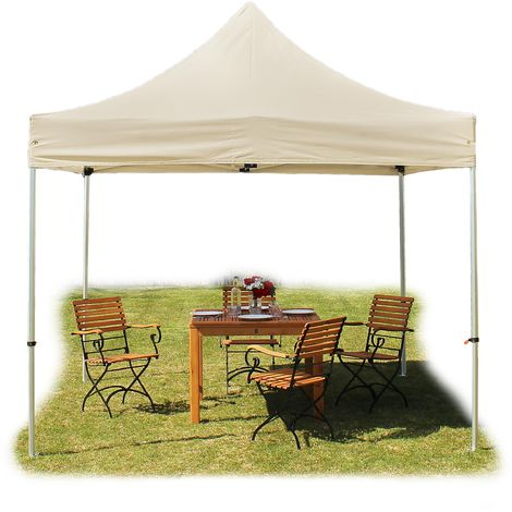 PopUp PREMIUM Gazebo 3x3 m without side panels classy polyester waterproof HOUSEOFTENTS marquee party tent beige