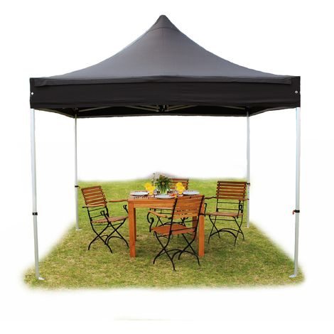 PopUp PREMIUM Gazebo 3x3 m without side panels classy polyester waterproof HOUSEOFTENTS marquee party tent black