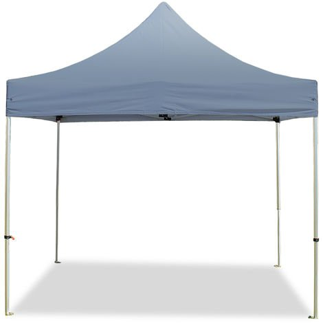 PopUp PREMIUM Gazebo 3x3 m without side panels classy polyester waterproof HOUSEOFTENTS marquee party tent darkgrey