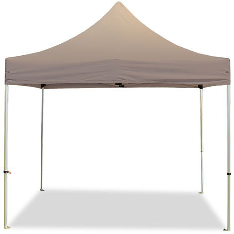 PopUp PREMIUM Gazebo 3x3 m without side panels classy polyester waterproof HOUSEOFTENTS marquee party tent taupe