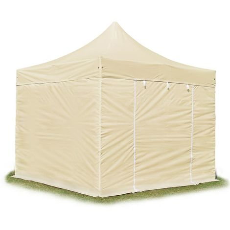 PopUp PREMIUM Gazebo 3x3 m without windows classy polyester waterproof HOUSEOFTENTS marquee party tent beige