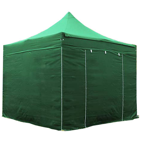 PopUp PREMIUM Gazebo 3x3 m without windows classy polyester waterproof HOUSEOFTENTS marquee party tent darkgreen