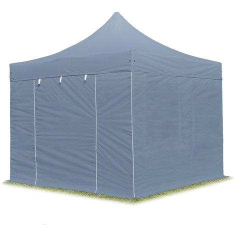 PopUp PREMIUM Gazebo 3x3 m without windows classy polyester waterproof HOUSEOFTENTS marquee party tent darkgrey