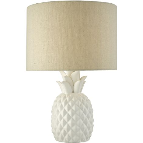 Porcelain Pineapple Table Lamp with Natural Linen Fabric Shade
