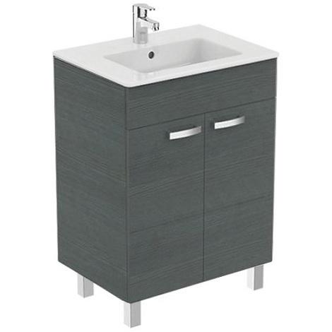 Porcher - Ensemble Ulysse meuble sur pied bois grisé et lavabo-plan en grès fin 61x45x (H) 85,5 cm