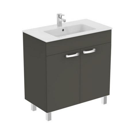 Porcher - Ensemble Ulysse meuble sur pied gris moyen 80cm lavabo-plan 2 portes