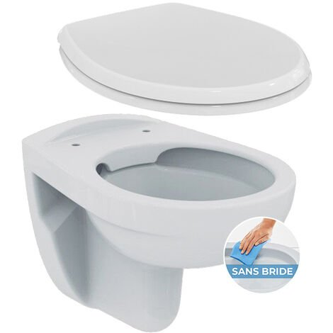 Porcher / Ideal Standard Pack WC suspendu sans bride + abattant Eurovit (PorcherRimless)