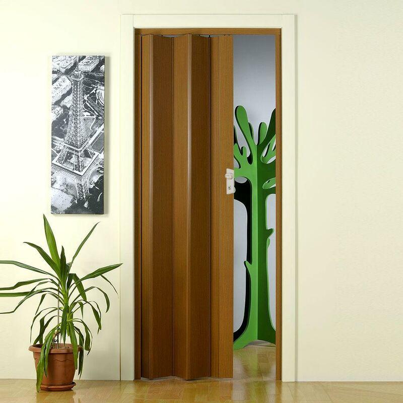 Porta soffietto scorrevole moderna pvc colore bianco 83x214 cm facile da montare