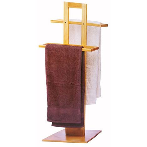 Porta Asciugamani Per Bagno.Porta Asciugamani Da Terra In Legno Bamboo Con 2 Barre Asciugamano Per Bagno
