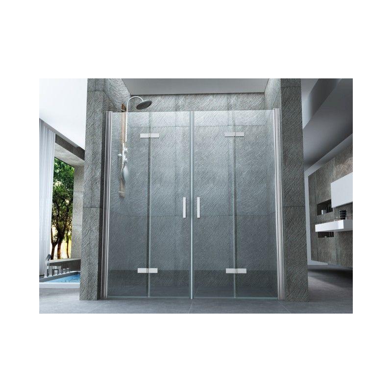 Porta doccia due ante da 70 cm apertura a libro vetro 8 mm trasparente