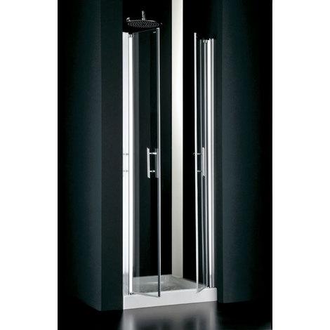 Porta doccia due ante saloon in cristallo 6mm EVO Trasparente 6mm,Bianco,L.72/76 H.190 cm