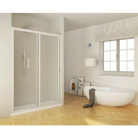 Porta doccia scorrevole acrilico e pvc bianco nicchia h.185cm