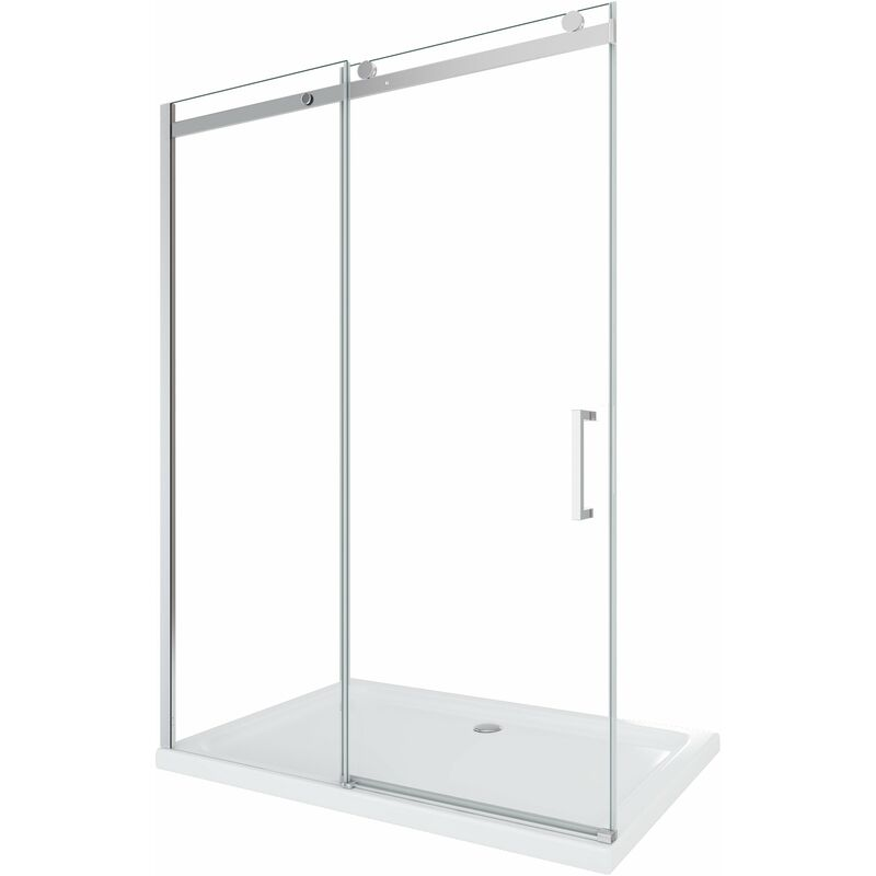 Porta doccia vetro 8 mm per installazione in nicchia Altezza 190 cm installazione reversibile cm 140 (reg