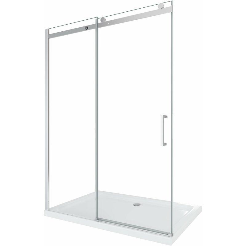 Porta doccia vetro 8 mm per installazione in nicchia Altezza 190 cm installazione reversibile cm 150 (reg