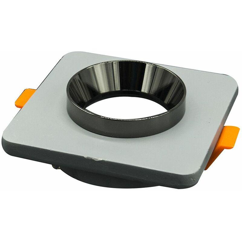 Driwei - Porta faretto gesso quadrato incasso grigio supporto lampada cromo nero GS-5013