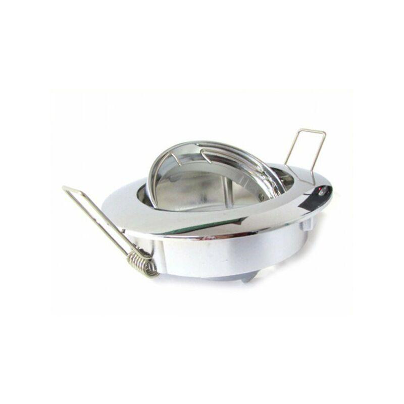 Ledlux - Porta Faretto Led GU10 MR16 Orientabile Rotondo Con Molla Cromato