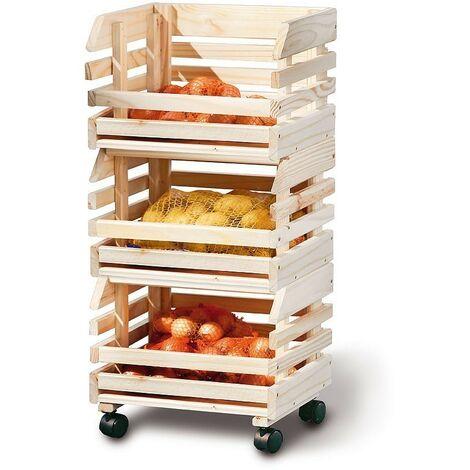 Porta frutta con ruote cassette amobivili 37x30x80h pino massello naturale - Inter Link