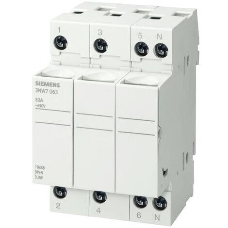 Porta fusibles Siemens cilíndrico 3NW7 3P+N 32A 10,3X38 3M 3NW7063