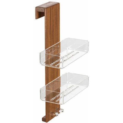 """main image of """"Porta sapone 'Salina' per parete doccia con doppio gancio e doppia vaschetta interna by Cipi - in Plexiglass e Teak"""""""