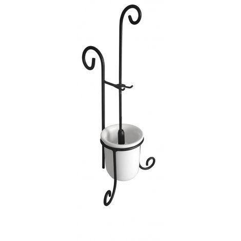Accessori Bagno In Ferro Battuto E Ceramica.Porta Scopino Da Appoggio In Ceramica E Ferro Battuto