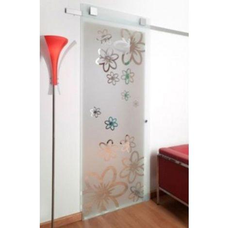 Porta Scorrevole A Vetro Extrachiaro Satinato Per Foro Muro Da 80 85 X 220 001light80es