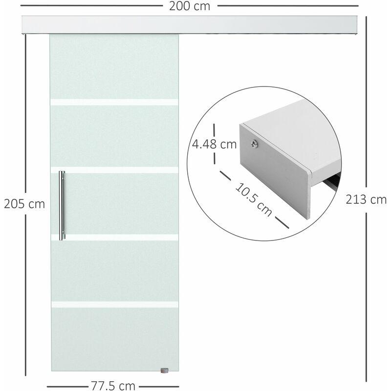 Porta Scorrevole Da Interno In Vetro Satinato A Strisce 77.5x205 Cm Benzoni