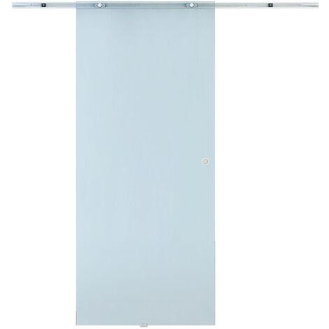 Porta Scorrevole Da Interno In Vetro Smerigliato 90x205x0.8 Cm Binario In Alluminio Benzoni