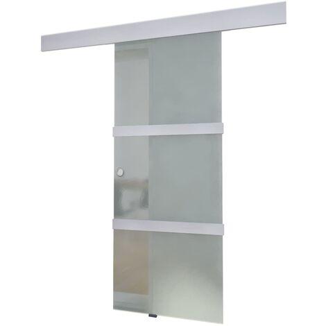 Porta Scorrevole in Vetro e Alluminio 178 cm Argento -