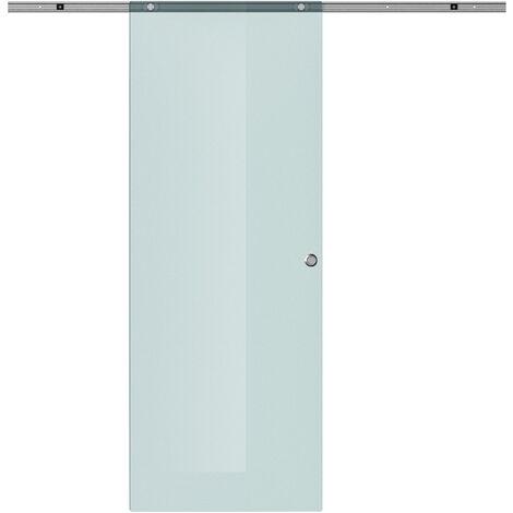 Porta Scorrevole in Vetro Smerigliato e Binario in Alluminio, 77.5x205cm