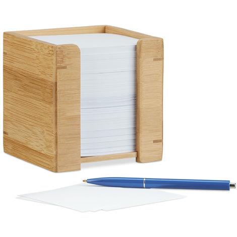 Porta Tacos de Notas con Papel, Bambú, Beige, 10.5 x 10.5 x 10.5 cm